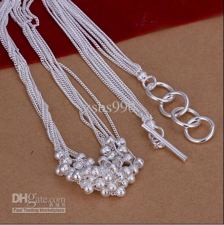 Hot new fashion jewelry 925 sterling silver Sand beads necklace