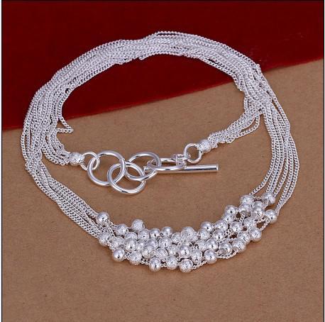 Hot New Fashion Smycken 925 Sterling Silver Sand Pärlor Halsband Gratis Frakt 10 Stame /