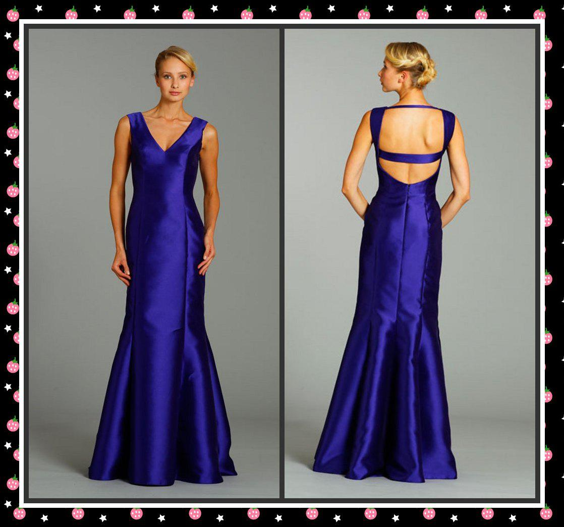New style royal blue bridesmaid dresses mermaid v neck backless full new style royal blue bridesmaid dresses mermaid v neck backless full length satin evening dresses fall bridesmaid dresses gowns dresses from dressforlove ombrellifo Image collections