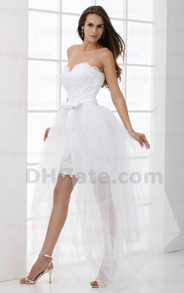 Großhandel 2016 Brautkleider Designer Weiß Hallo Lo Strand ...