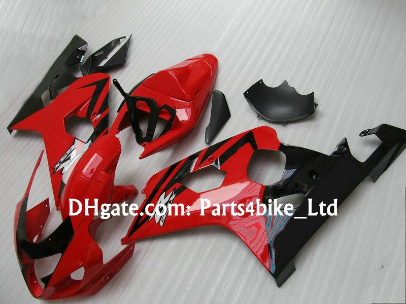 Custom Rot / schwarz Verkleidung für 2004 2005 SUZUKI GSXR 600 750 K4 GSXR600 / R750 04 05 GSX R750 Verkleidungen
