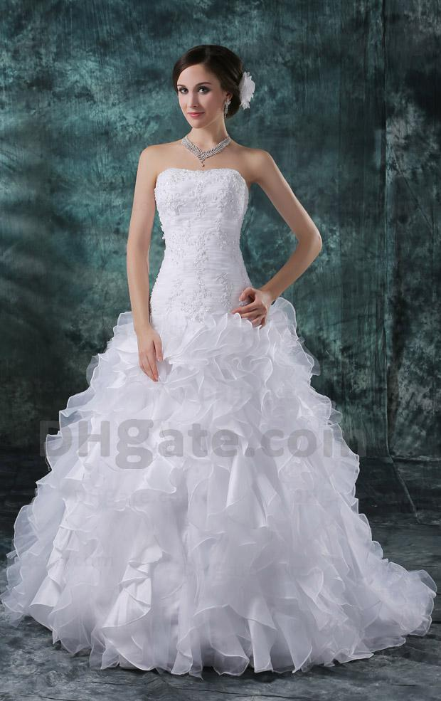 Full Refund Guarantee 2012 New Arrival Strapless A-line Wedding Dresses DH00329