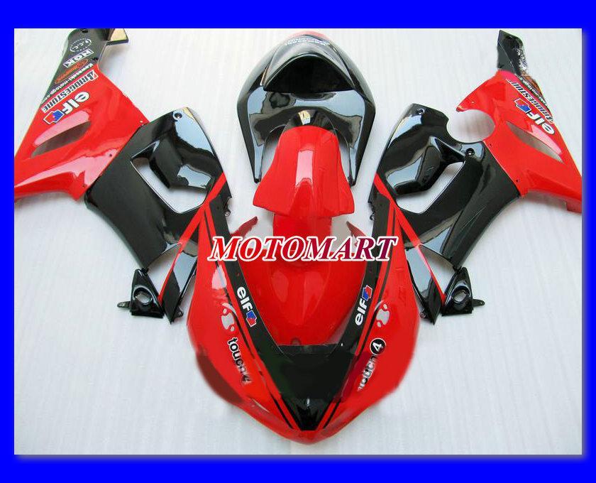 Hot Red Gloss Black Fairing Kit voor Kawasaki Ninja ZX6R 05 06 ZX-6R 636 ZX 6R 2005 2006 Valerijen Set