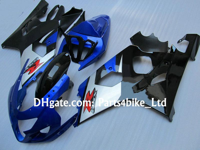 Blauwe zilveren carrosserie voor 2004 2005 SUZUKI FACKING GSXR 600 750 K4 GSXR600 GSXR750 04 05 GSX R600 Volledige Set Verklei Kits