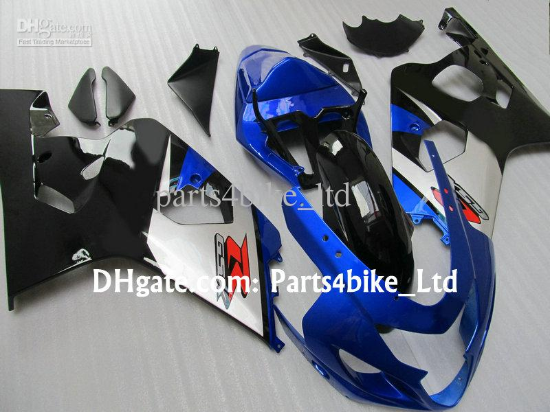 preto / azul / prata carenagem para SUZUKI GSXR 600 750 K4 2004 2005 GSXR600 GSXR750 04 05 GSX R750 corpo