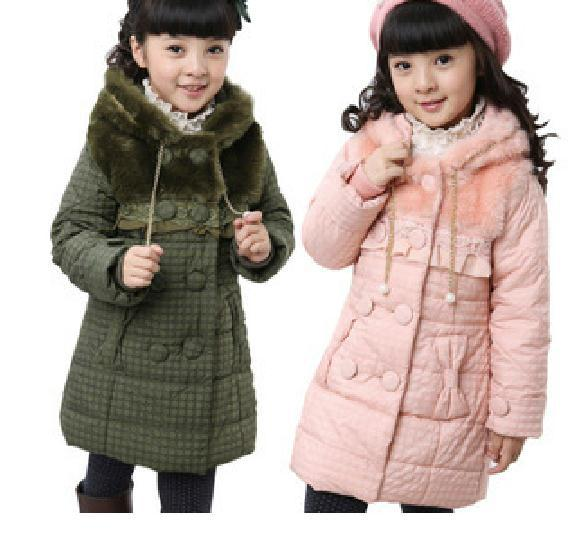 Girls Winter Coat Jacket New Children's Long Coat Thickened Cotton ...