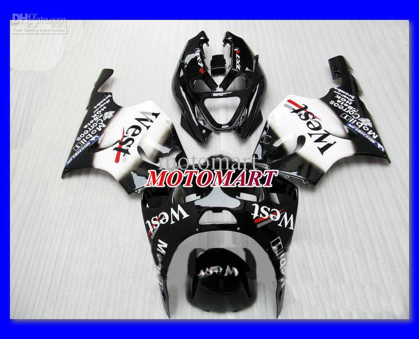 WEST weiß schwarz Verkleidungskit für KAWASAKI Ninja ZX7R 96 99 00 03 ZX-7R ZX 7R 1996 1999 2000 2003