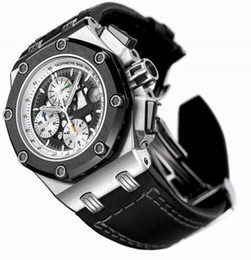 Wholesale Offshore Black - Luxury Mens Chronograph Watch Steel Date Royal Rubber Men Offshore Sport Men's Black Leather Watches