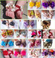 bebek ayakkabı süsleri toptan satış-20 Pairs Yürüyor Bebek Yalınayak Çorap Sandalet Ayakkabı Çocuk Gül Ayak Süsler Bebek Çiçek Çorap