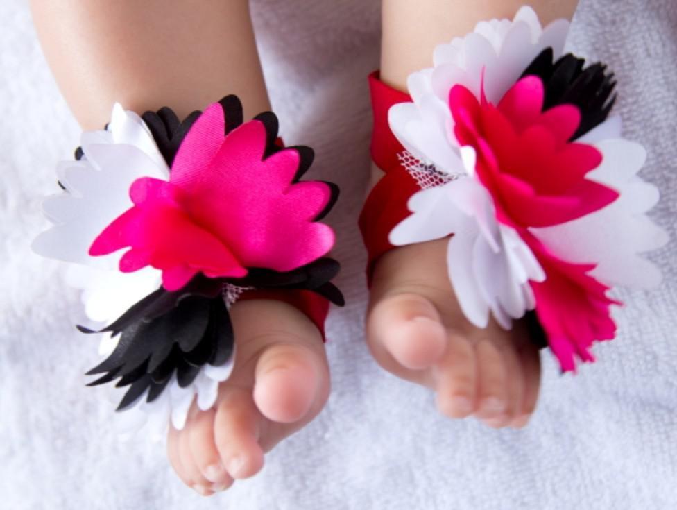 es Enfant Chaussettes Pieds Nus Sandales Chaussures Enfants Rose Pied Ornements Infantiles Chaussettes De Fleurs