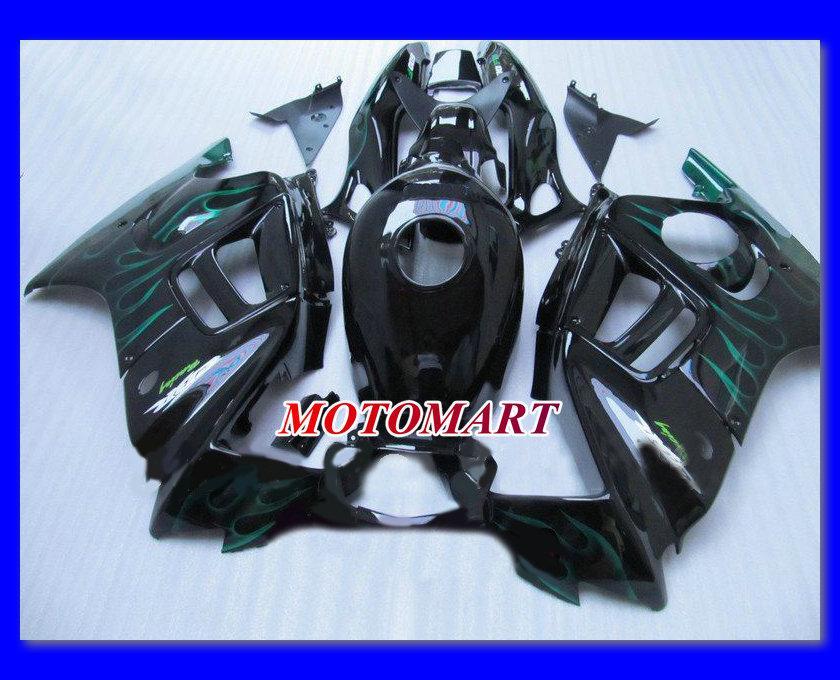 Blaue Flammen schwarz Verkleidung für HONDA CBR600F3 97 98 CBR600 F3 1997 1998 CBR 600F3 97 98 1997 1998