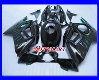 kit carenado negro 98 cbr f3 al por mayor-Juego de carenado azul llamas negro para HONDA CBR600F3 97 98 CBR600 F3 1997 1998 CBR 600F3 97 98 1997 1998