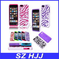 Hybrid-Gehäuse für iPhone 5 5S Zebra Stil Kunststoff Silikon Dual Protection Hard Back Cover
