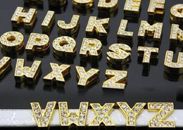 $enCountryForm.capitalKeyWord NZ - 10mm 130pcs A-Z Gold color rhinestone Slide letters DIY Accessories Jewelry Findings