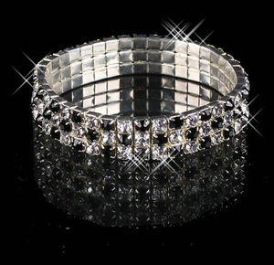 Charming Rhinestones Bridal Jewelry Pearls Bracelets bridal Wedding Accessories Silver Plated 3 Row Chain Style Wedding Bracelet 15011