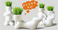 plantas de hierba artificial en maceta al por mayor-Decoración para el hogar Planta Bonsai Grass Doll Oficina Mini Plant Pot + Seed Regalo creativo Planta Pelo hombre