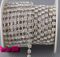 Wholesale Crystal Ss14 - Hot sell MIC 10 Yards SS14 Diamante Rhinestone Crystal Silver Tone Chain 3.5mm Wedding Decorations