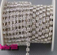 wedding decoration achat en gros de-Vente chaude MIC 10 Yards SS14 Diamante Strass Cristal Ton Argent Chaîne 3.5mm Décorations De Mariage