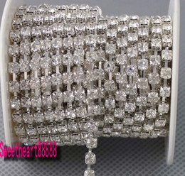 Wholesale Crystal Diamante - Hot sell MIC 10 Yards SS14 Diamante Rhinestone Crystal Silver Tone Chain 3.5mm Wedding Decorations