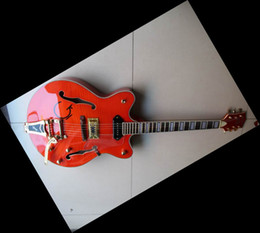 Wholesale Guitars Hollowbody - Newest Semi-Hollowbody Jazz Electric Guitar double cut orange 6120 free shipping