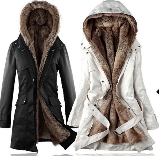 2017 Wholesale Faux Fur Lining Women's Fur Coats Winter Warm Long ...