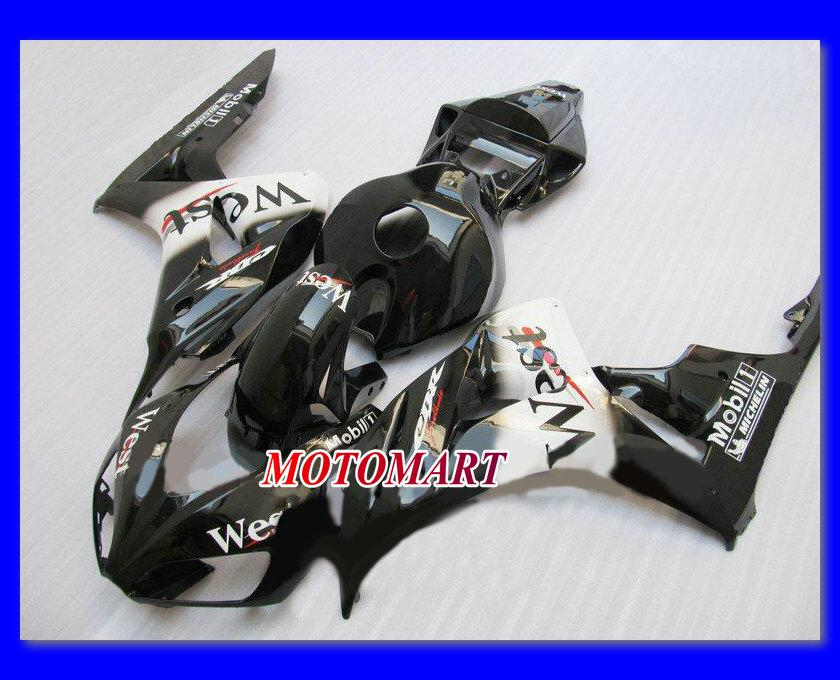 WEST gloss negro Kit de carenado del moldeo por inyección para HONDA CBR1000RR 06 07 CBR 1000RR 2006 2007 CBR 1000 RR 06 07