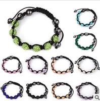 Wholesale Macrame Crystal - Wholesale-7PCS Crystal Dsco Ball Handwork Mix Colours Macrame Bracelets Crystal Bracelet SP2