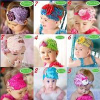 Wholesale Christmas Decoration Patchwork - 10 pcs Baby Girl Feather Headband Infant Head Decoration Christmas Flower Hair Band Child Headwear