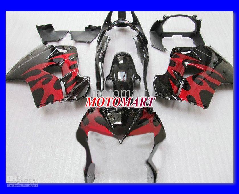 Red Gloss Black Full Fairing Kit för Honda VFR800 98-01 VFR-800 1998 1999 2000 2001 VFR 800 98 99 00 01