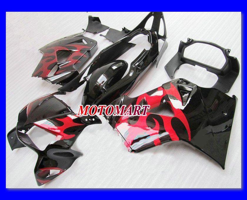 Carénage complet rouge brillant noir pour HONDA VFR800 98-01 VFR-800 1998 1999 2000 2001 VFR 800 98 99 00 01