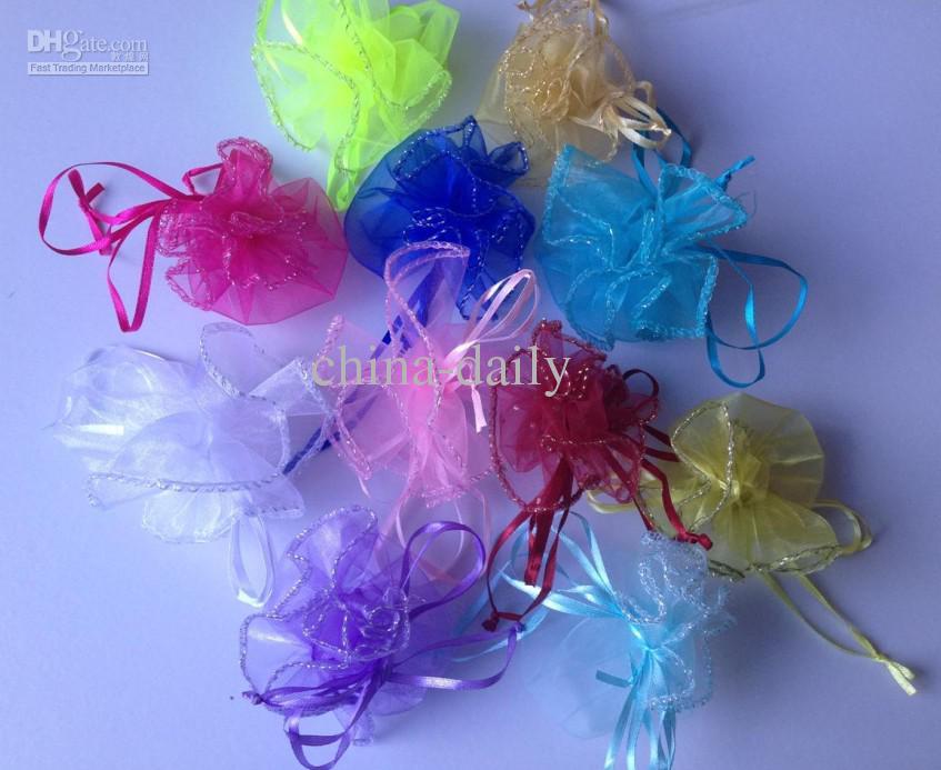 Livraison gratuite petit 24 cm diamètre organza ronde plaine bijoux sacs de noce cadeau bonbons sacs
