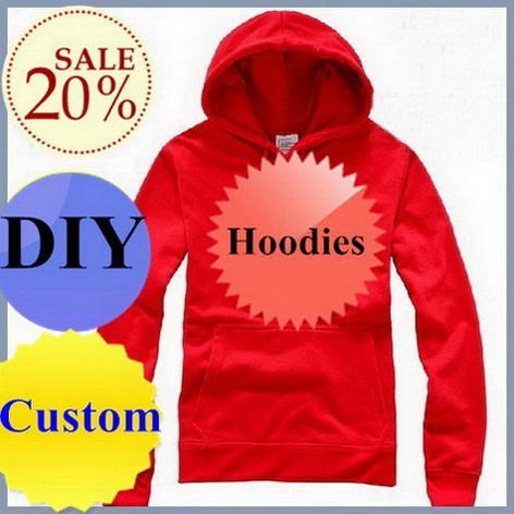 Op maat gemaakte hoodies diy pullover t-shirts hoody gratis verzending wit rood blauw grijs zwart 100% katoen