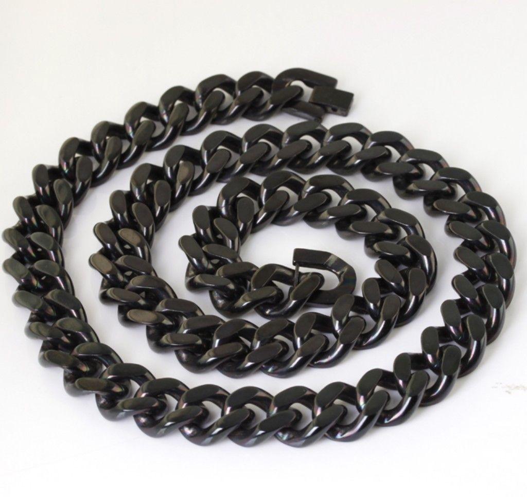 Starke Männer schwarze heavyhuge Edelstahl 14mm Kuba Kette Halskette 23.6''für große Weihnachtsgeschenke