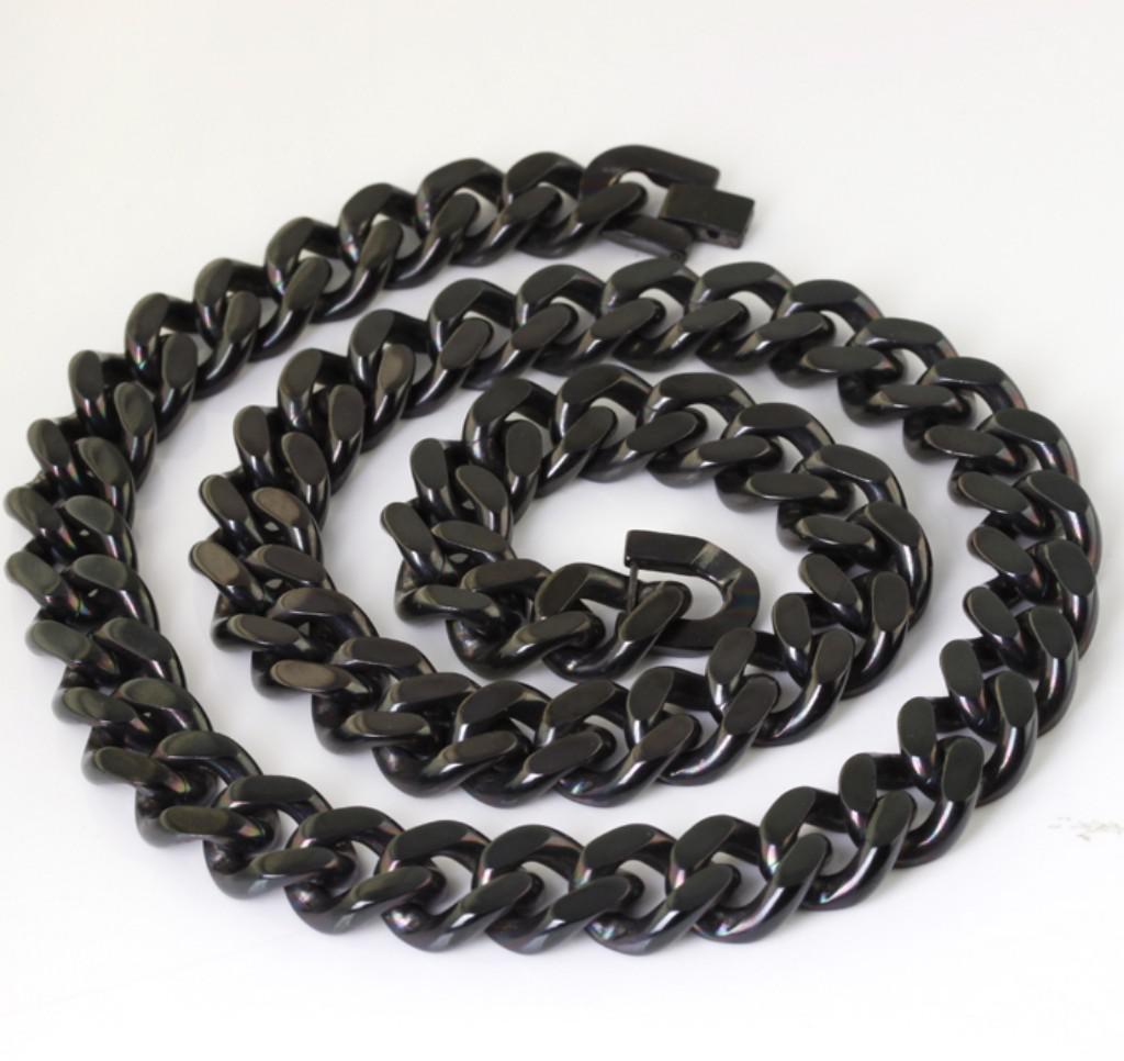 Stronghuge noir des hommes solides en acier inoxydable 14mm Cuba Chain Necklace 23.6 '' pour les grands cadeaux XMAS