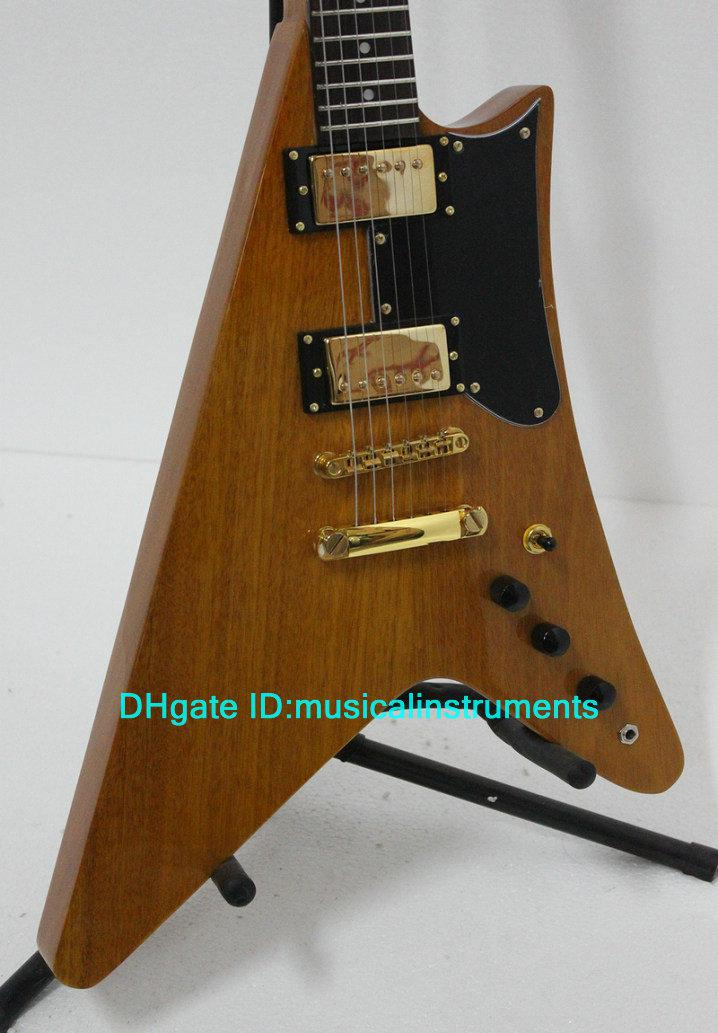 classic natural flying v electric guitar high quality musical instruments guitars for sale full. Black Bedroom Furniture Sets. Home Design Ideas