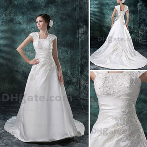 Wholesale 2015 New White A-Line Wedding Dress Appliqued Banding Back Chapel Train Cap Sleeve Real Images dhyz 01