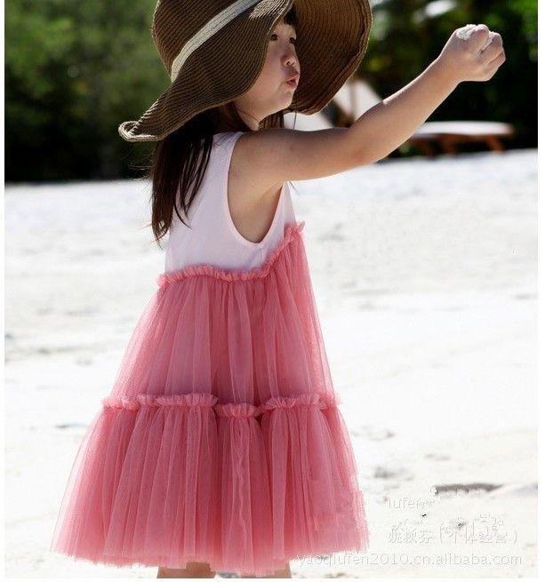 Baby Girls Dresses Pink Cake Kjolar Bomull Klänningar Veil Group Kids Kläder