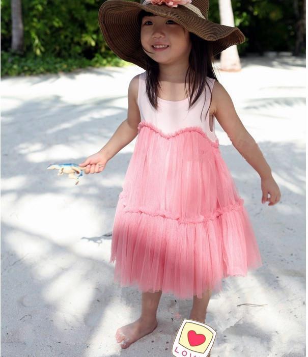 Baby meisjes jurken roze cake rokken katoenen jurken sluier groep kinderkleding