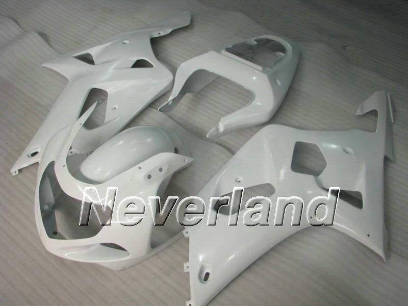 スズキGSXR600のための完全な白いフェアリングキット750 01 02 03 GSXR600 GSXR750 K1 2001 2002 2003 2003フェアリングセット+ 7ギフト