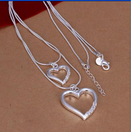 High quality 925 silver heart pendant necklace fashion jewelry free shipping 10pcs