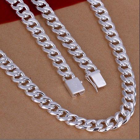 Taille mélangée 10MM (20,22,24) pouces plaqué 925 collier en argent sterling hommes bijoux livraison gratuite 3pcs