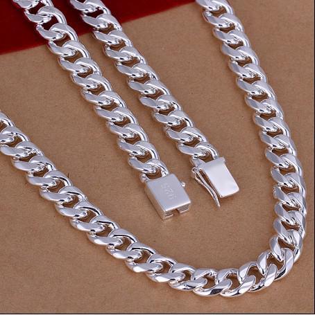 Tamanho misto 10 MM (20,22,24) polegadas banhado a 925 colar de prata esterlina homens jóias frete grátis 3 pcs