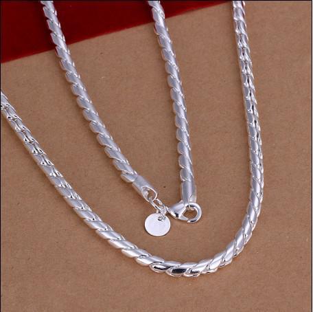 Hoge kwaliteit 4mm 20 inches 925 zilveren ketting Twisted touw ketting mode-sieraden gratis verzending 10 stks