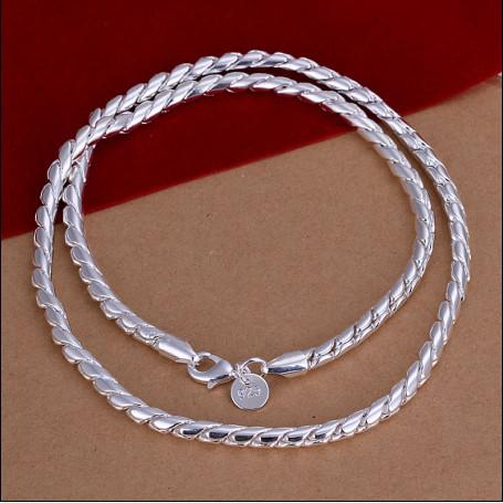 High quality 4MM 20inches 925 silver chain twisted rope necklace fashion jewelry free shipping 10pcs