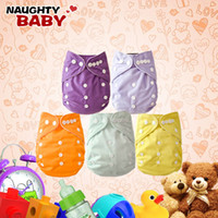 Wholesale Free Cloth Diapers - Wholesale-Naughtybaby New Arrive Double Row snaps Solid Color Cloth Diapers With Insert Set Free Shipping