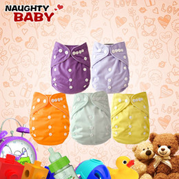 Wholesale Diapers Covers - Wholesale-Naughtybaby New Arrive Double Row snaps Solid Color Cloth Diapers With Insert Set Free Shipping
