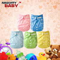 Wholesale Cheap Baby Cloth Diaper - Cheap Baby Diapers 5pcs With Insert One Size Cloth Diaper Naughtybaby Plain Color Diapers Free Shipping