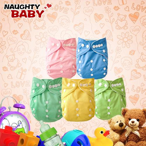 Promotion-Naughtybaby Double Row snaps One Pocket Cloth Diapers Without Insert Nappies 200 pcs Free Shipping