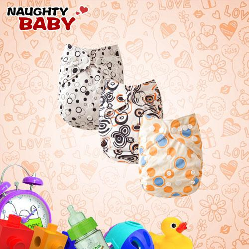 top popular Wholesale Cloth Diapers-Naughtybaby Double Row snaps Cloth Diapers With Insert 15 Sets 2021