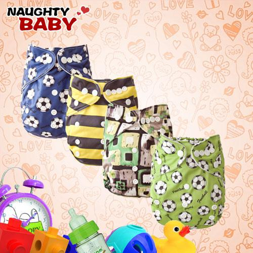 Cloth Diapers Wholesale-Naughtybaby New Arrive Double Row snaps Cloth Diapers With Insert Set free shipping